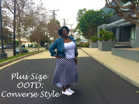 Plus Size, Plus Size Fashion, Plus Size OOTD, Outfit of the Day, OOTD, Fashion, Plus Size Blog, PlusSize Style, Striped Skirt, Denim Jacket, Style Blog,